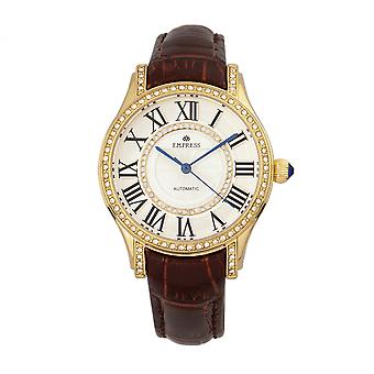 Empress Xenia Automatic Leather-Band Watch - Brown