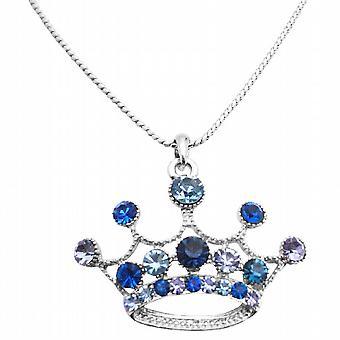 Coroa pingente colar Lite & escuro azul coroa projetado colar
