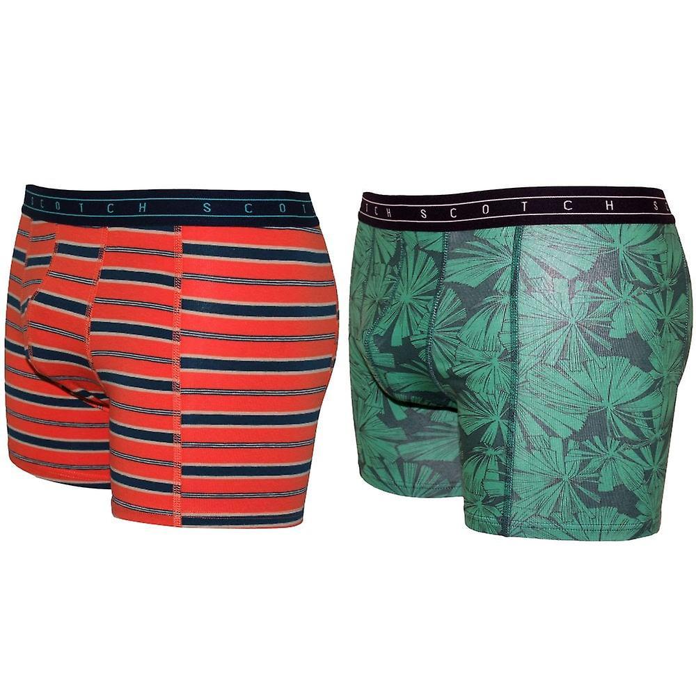 Scotch & Soda 2-Pack Stripes & Tropical Print Boxer Briefs Gift Set, Orange/Green