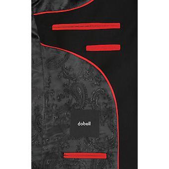 Dobell Mens Black Tuxedo Dinner Jacket Regular Fit Notch Lapel Satin Trim