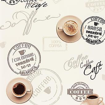 Koffiekopje behang uit Wit Beige typografie Script keuken afwasbaar Vinyl