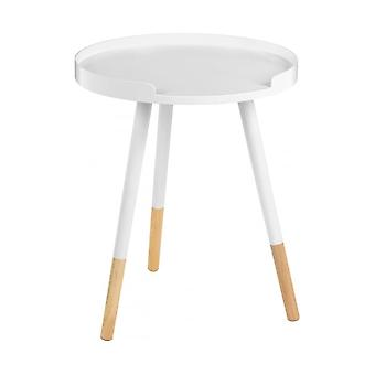 Fusion Living Biały Okrągły Taca Stół z bukowymi nogami