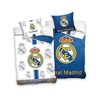 Real Madrid CF Blue and White Single Duvet Cover - European Size
