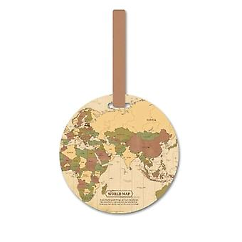 Luggage tag, world map-Beige