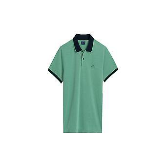 Gant Oxford Pique Short Sleeve Polo Shirt Blarney Green