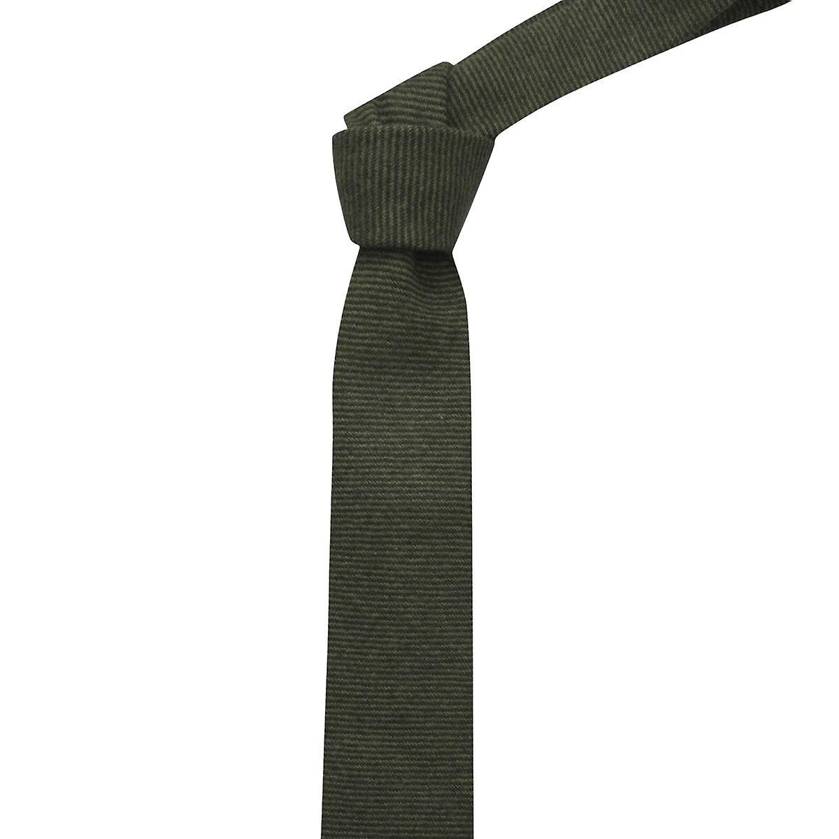 Luxury Dark Green Sharkskin Stripe Tie, Wool