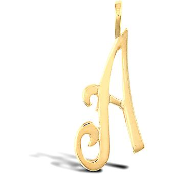 Jewelco London Solid 9ct Yellow Gold Script Identity Initial Pendant Letter A