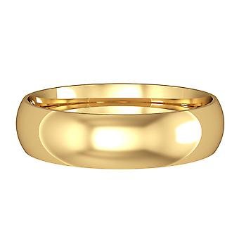 Jewelco London 18ct Yellow Gold - 5mm Essential Court-Shaped Band Commitment / Anello di nozze