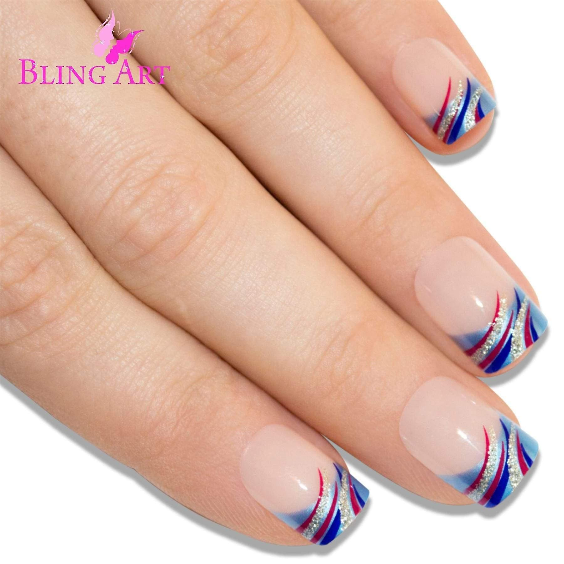 False nails by bling art glitter blue french manicure fake medium tips with glue