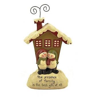 Sneeuwpop paar en huis