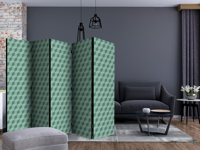 Paravent 5 volets - Monochromatic cubes [Room Dividers]