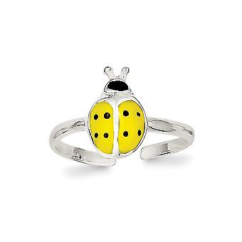 925 Sterling Argento smaltato e polacco Lady Bug Toe Ring Regali gioielli per le donne - 1.2 Grammi