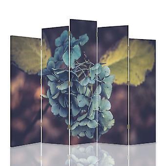 Divisor de habitación decorativa, 5 paneles, lienzo, flor turquesa 1