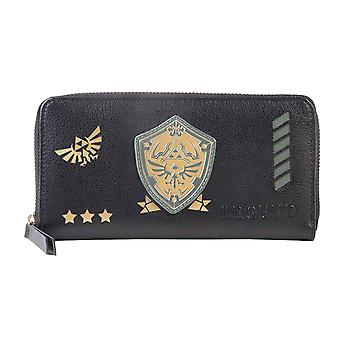 Zelda Purse Legend Hyrule Logo new Official Nintendo Black Zip Around