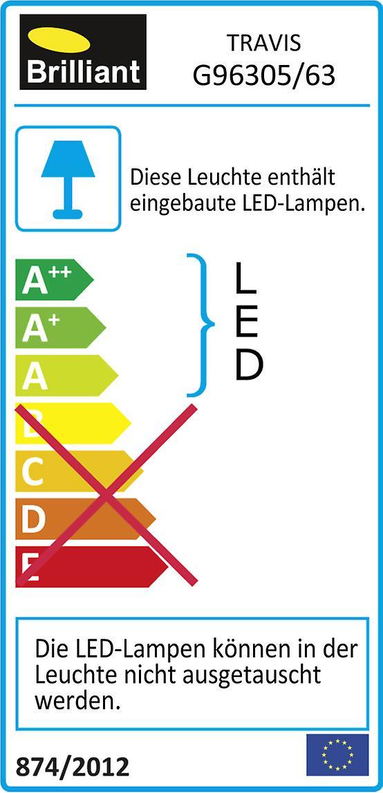 BRILLIANT Lampe TRAVIS LED Außenwandleuchte anthrazit I IP-Schutzart: 44 – spritzwassergeschützt I Energiesparend und langlebig durch LED-Einsatz