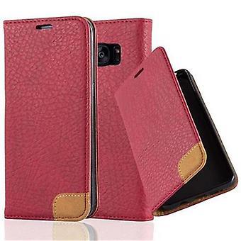 Cadorabo Case för Samsung Galaxy S7 EDGE fodral Cover-telefon väska med Stand-funktion, kort bricka och textil patch-fodral fodral fodral fodral