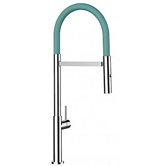 Single-lever Kitchen Sink Mixer With Turquoise Tiffany Spout And 2 Jets Shower - 180