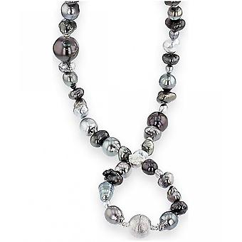 Luna-Pearls Pearl Necklace Tahiti Beads 3-14 mm 925 Silver Rhodiumplated 2035952