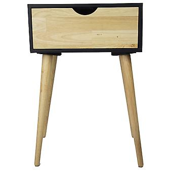Modern Flair Black and Natural Single Drawer End Table