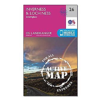 New OS Landranger Active 26 Inverness & Loch Ness  Strathglass Map Orange