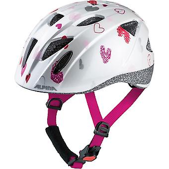 Alpina Ximo child bicycle helmet / / white hearts