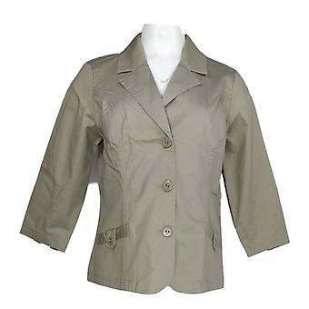 Denim & co. kvinner ' s Jacket stretch twill 3/4 ermet knapp beige A255325
