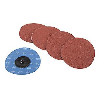 75mm Quick-Change Sanding Discs Set 5pce - 80 Grit