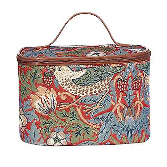 William Morris-Erdbeere Dieb roten Make-up-Tasche von signare tapestry/toil-strd
