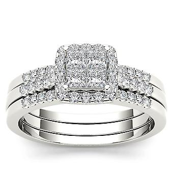 IGI Certified 14k White Gold 0.75 Ct Princess Diamond Halo Engagement Ring Set