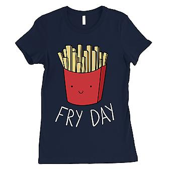365 Printing Fry Day Womens Navy Adorable Witty Weekend Food Character T-Shirt