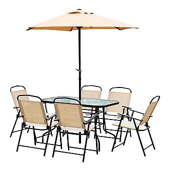 Outsunny 8 Pieces Dining Set Furniture Garden Foldable 6 Chairs 1 Table with Parasol Beige