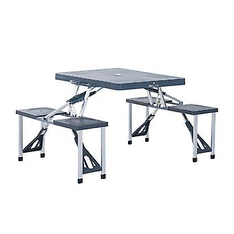 Outsunny Folding Picnic Table Chair Set Camping Hiking Dining Furniture Aluminium Frame w/ Suitcase for BBQ Party Outdoor Garden