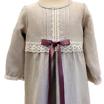 Doop jurk genade van Zweden, lange mouw en paars-roze Bow