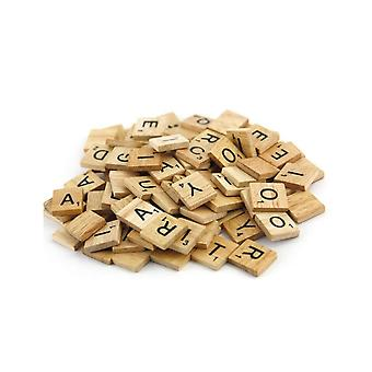 Black Wooden Scrabble Letters with Printed Numbers and Alphabets -P