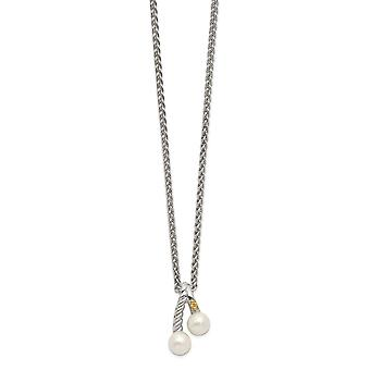 925 Sterling Silver With 14k Polished White Pearl Chain Slide Jewelry Gifts for Women - 1.00 cwt