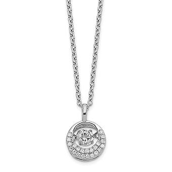 9.65mm Cheryl M 925 Sterling Silver Moving Brilliant cut CZ Cubic Zirconia Simulated Diamond Circle Necklace 18 Inch Jew