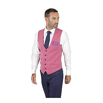 Marc Darcy Kelly Single Breasted Pink Plain Waistcoat