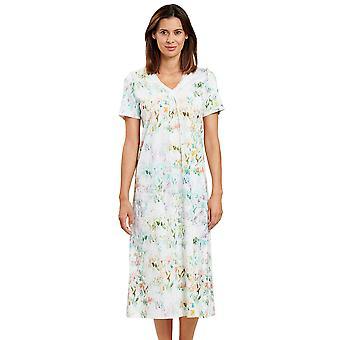 Feraud 3201131-16501 Women's High Class Summer Bloom White Floral Loungewear Nightdress