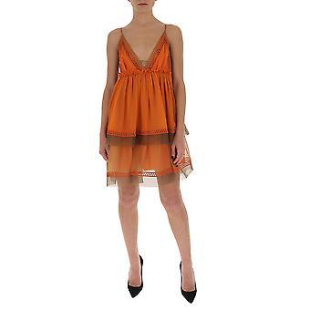 Alberta Ferretti 04100114a1096 Kvinder's Orange Silke kjole