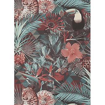 Animal Jungle Wallpaper Vinyl Black Green Pink Geometric Birds Deco Discount