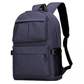 Durable large backpack with USB port-dark blue