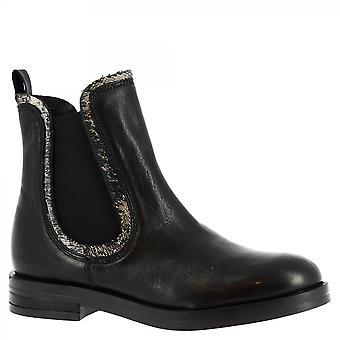 Leonardo Shoes Women-apos;s fashion handmade chelsea bottes cuir veau noir