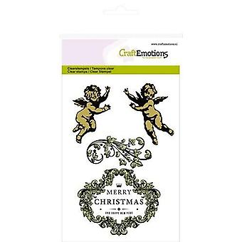 CraftEmotions Clear Stamps A6 - Angels ornamente rótulo Purple Holiday