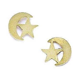14k Sárga Arany Félhold és Star Bélyegzés a fiúk vagy lányok fülbevaló intézkedések 7x8mm