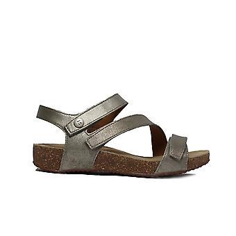 Josef Seibel Tonga 25 Silver Leather Womens Rip Tape Sandals