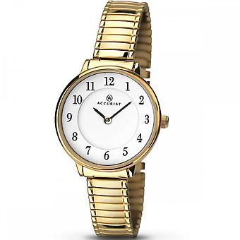 Accurist Ladies Round White Dial Gold Expanding Bracelet Watch 8139