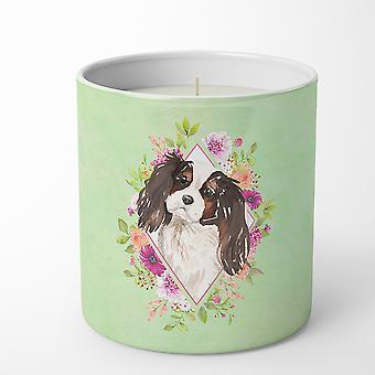 ثلاثي الألوان Cavalier Spaniel الزهور الخضراء 10 أوقية ديكور الصويا شمعة