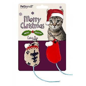 Pet Brands Festive Catnip Christmas Mice Cat Toy (Pack of 2)