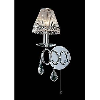 Torino Wall Lamp Switched 1 Light Polished Chrome/crystal