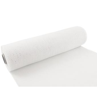 Iridescent White 25cm x 9.1m Deco Mesh Roll for Wreath Making, Floristry & Crafts